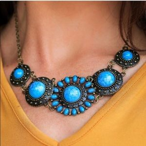 L&B turquoise stone statement necklace